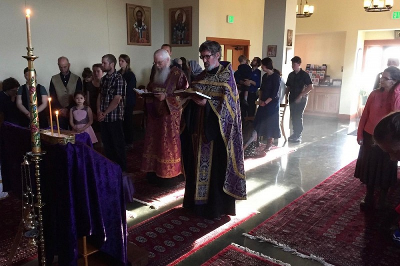 Fr. David prays during the Holy Unction Service.